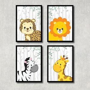 bild dschungel tiere kunstdruck a4 afrika safari poster kinderzimmer deko ebay. Black Bedroom Furniture Sets. Home Design Ideas