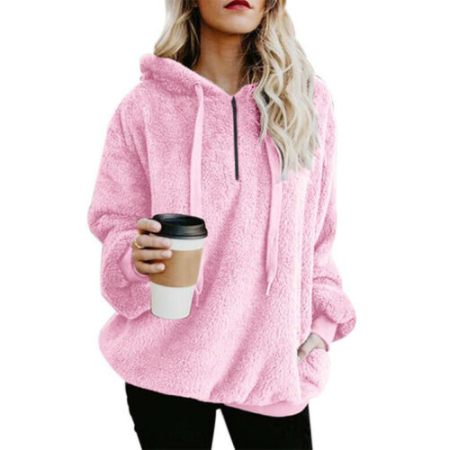 Damen Fleece Teddyfell Kapuzenpullover Sweatshirt Hoodie Winterjacke Mantel Coat