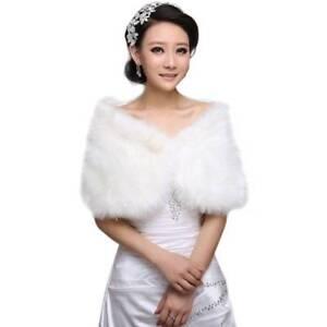 3c77c65e7d7 Details about Womens White Faux Fur Bridal Wrap Shawl Stole Cape Winter  Wedding Coat Shrug