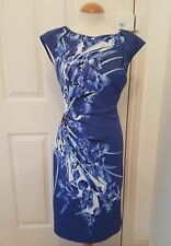 ladies KAREN MILLEN blue dress size 12 14 wiggle pencil floral white