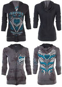 Sinful Bandit Women up Omkeerbare Zip hoodie jas Wings Affliction Love 74 By qnrzYxq4