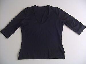 Morbida-maglia-donna-nera-scollo-a-V-maniche-a-3-4-tg-3