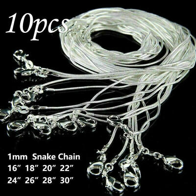 """1MM 16/"""" 18/"""" 20/"""" 22/"""" 24/"""" Snake Chain Silver  Plated Necklace Link Stainless Steel"""