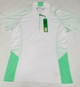 NEW-Antigua-Women-039-s-White-with-Green-Accents-1-4-Zip-Golf-Polo-Shirt-Size-Small