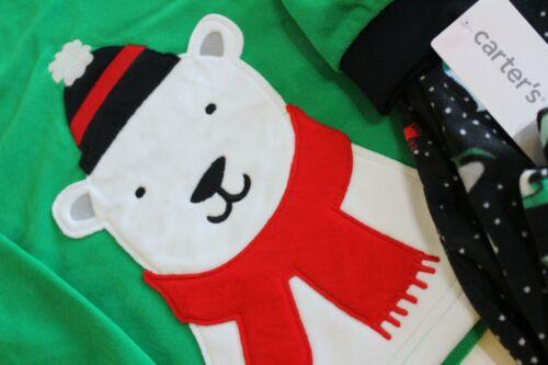 Details about  /Carter/'s Boy Fleece Pajama Set Size 8 Black Green Red Polar Bear