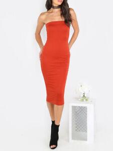 on sale 28e3d df094 Dettagli su Elegante vestito abito tubino ginocchio fascia rosso scollato  morbido 4685