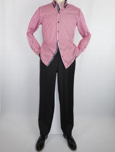 Men Makrom Shirt Cotton Blend wrinkle less Double collar Stripe 6493 red white