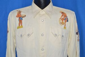 VTG 40s tanbrook Rayon Native American Paint Western Pearl Snap Shirt 15.5 M