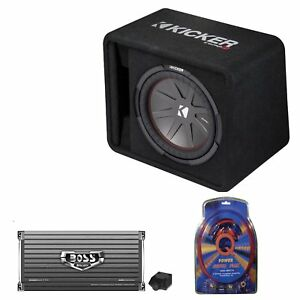 Kicker 12 Inch 1000W Subwoofer Box + 2000W Mono Amplifier, Remote + ...