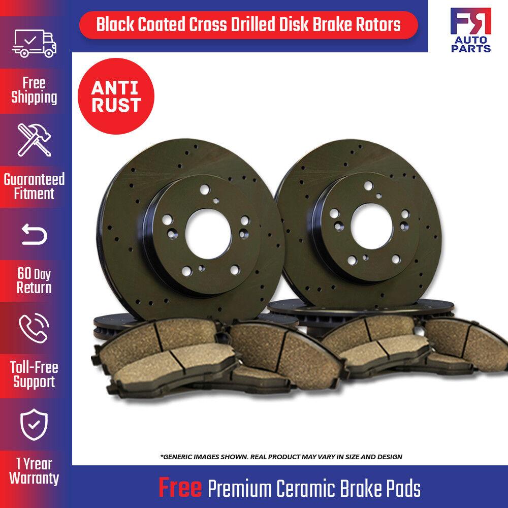 Fits:- 5lug 8 Ceramic Pads High-End 4 Cross-Drilled Disc Brake Rotors Front+Rear Kit