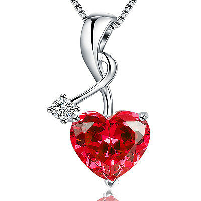 6.06Ct Sterling Silver Heart Cut  Created Gemstone Pendant Necklace w// Chain