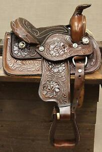 8-034-Toddler-Brown-Western-Leather-Saddle-Miniature-Pony-Saddle-GREAT-LOW-PRICE