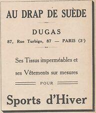 Z9161 DUGAS pour les Sports d'Hiver -  Pubblicità d'epoca - 1929 Old advertising