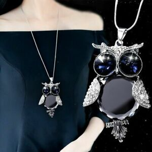 Women-Crystal-Owl-Pendant-Necklace-Fur-Rhinestone-Long-Chain-Sweater-Tassel-Gift