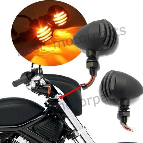 2X MOTORCYCLE BIKE TURN SIGNALS MINI BULLET BLINKER AMBER INDICATOR LIGHTS BULB
