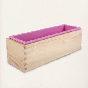 Rectangle Silicone Liner Soap Mould Wooden Box Diy Making Bake Toast