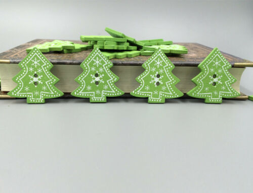 20//50//100PCS Arbre de Noël Flocon de neige en bois boutons à coudre et Scrapbook 31 mm
