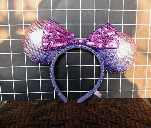 NEW Disney Parks Purple Minnie Mouse Bow Sequins Ear Headband Ears Spring