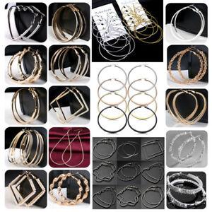 Women-Simple-Large-Hoop-Earrings-Thin-Metal-Rope-Big-Hoops-Heart-Silver-Jewelry