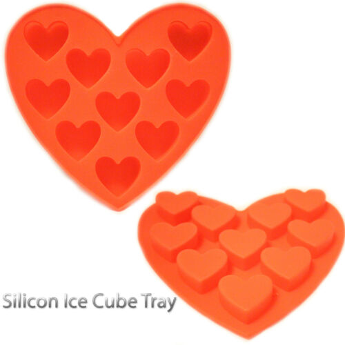 ICE Cube Tray 18 Ice Cubes Easy Pop Silicone Base Mould Easy PoP Up HEART SHAPE