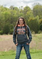 Cowgirl Tuff Women's Gray Coral Athletics Hoodie S00724