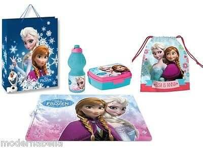 Luminosa Set Regalo Frozen Blu Box Portapanini Merenda Borraccia Sacchetto,tovaglia Borsa