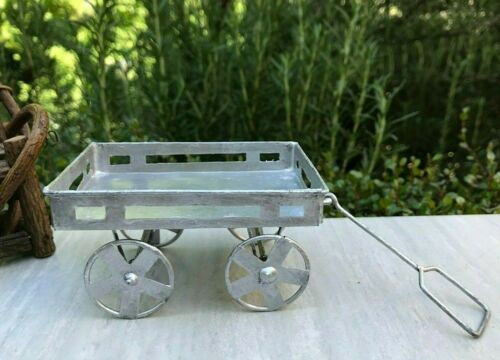 Miniature Dollhouse FAIRY GARDEN Accessories ~ Rustic Mini Tin FARM Wagon ~ NEW