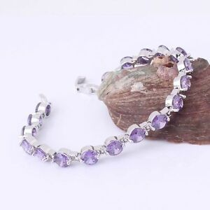 Lovely-new-18ct-white-gold-filled-purple-sapphire-crystal-bracelet