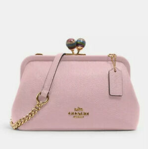 Coach-C1451-Nora-Kisslock-Crossbody-Bag-Leather-Pink-Purse-Clutch-Chain-Strap
