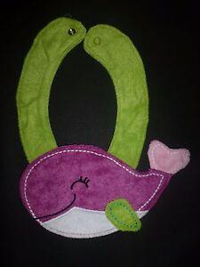 NEW Carter's Purple Whale Baby Girl Terry Cloth Teething Drool Bib