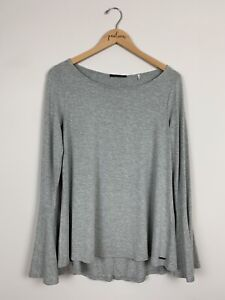 Tahari-Gray-Long-Bell-Sleeve-Stretch-Knit-Shirt-Top-Size-Small-S