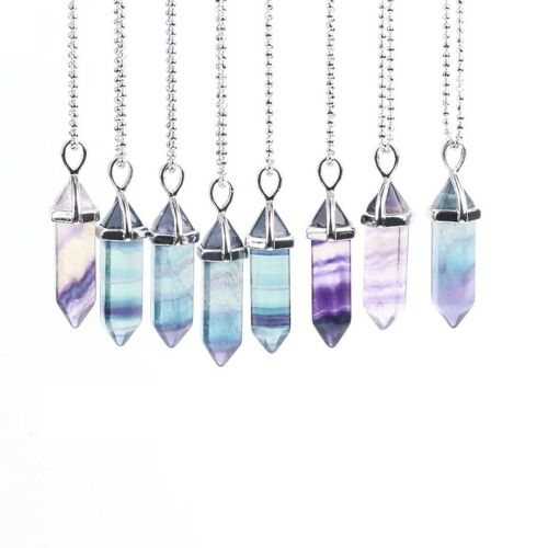 Crystal Pendant Silver Necklace With Chain Jewellery Bohemian Gothic Simple UK