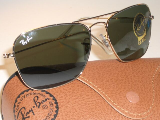 0c462a40382 55  15mm RAY BAN RB3136 SLEEK GOLD G15 UV CARAVAN AVIATOR SUNGLASSES w