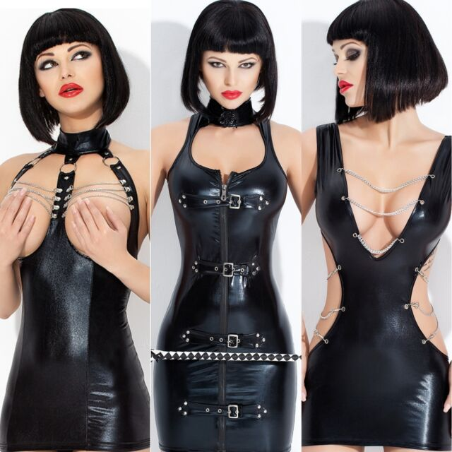 4 Neu Vinyl Kleid ala Lack Latex Fetisch Domina Clubwear Bondage Glanz Wet look
