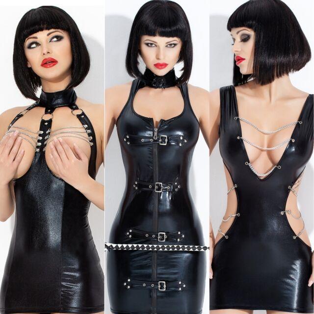 4 Neu Vinyl Kleid ala Lack Latex Fetisch Domina Clubwear Bondage Glanz Wet look