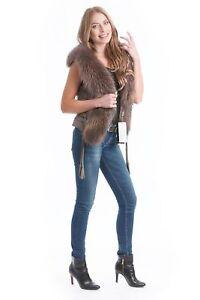 Stile Volpe Pelo Gilet 36 Vero Taglia Lusso Designer Marrone Pelliccia xwqCIqY1