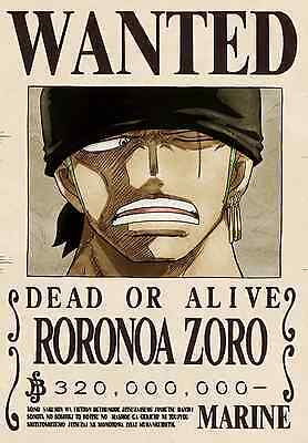 ONE PIECE POSTER RORONOA ZORO  WANTED 2 42x29 CM NUEVO