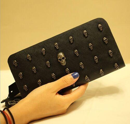 Fashion skull wallet large capacity handbag bag wallet card package retro