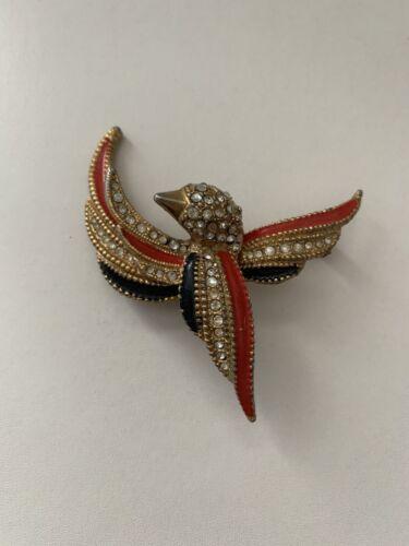 Enameled rhinestone bejeweled bird in flight yellow bird green wings gold beak bird brooch pin emerald rhinestone eye
