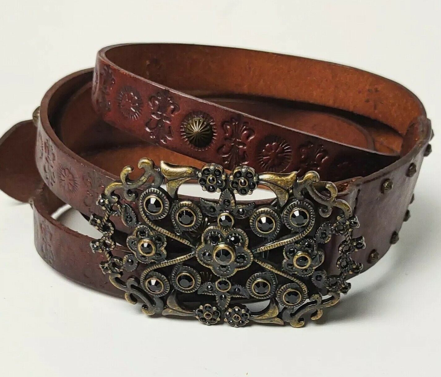 Fossil Brown Floral Stamped Leather Jewel Embellished Buckle Bling Large