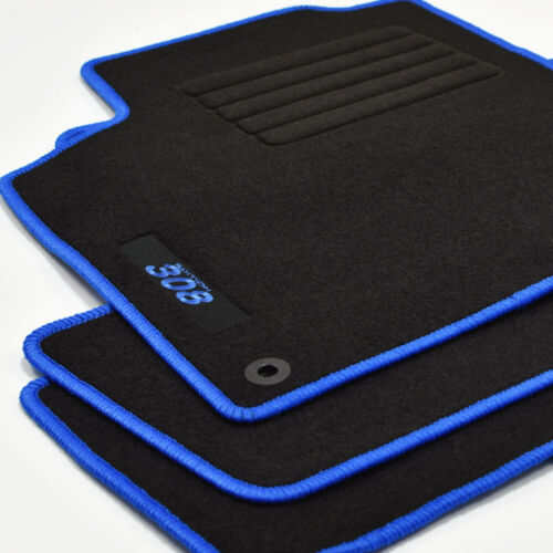 308SW ab Bj.09//2007-2014 Velours Fußmatten Logo Edition blau für Peugeot 308