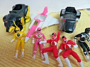 Vintage 1995 96 5 Mighty Morphin Power Rangers & 3 vehicles