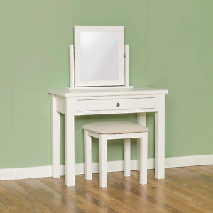 White Painted Solid Wood with Stool /& Mirror Cornish White Dressing Table Set