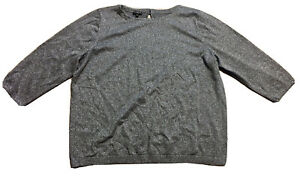 Talbots-Silver-Glitter-Shimmer-Gray-Pullover-Sweater-Size-2X-XXL