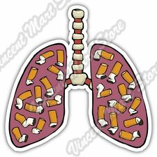 "Quit Stop Smoking Cigarettes Smoker Lungs Car Bumper Vinyl Sticker Decal 4""X5"""