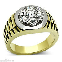 Mens Dual Tone Seven Crystal Gold Plated Stainless Steel Ring