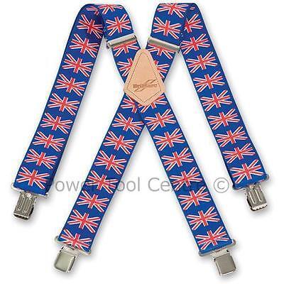 """Brimarc Mens Heavy Duty Trouser Belt Suspender 2"""" 50mm Wide Union Jack Braces"""