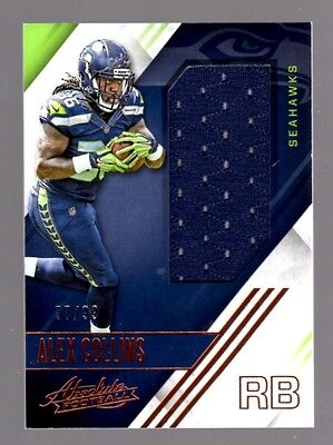 Alex Collins SEAHAWKS 2016 Absolute Football ROOKIE JERSEY RELIC #77/99   eBay