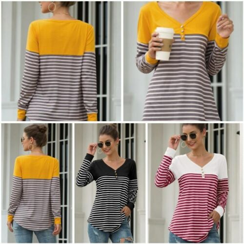 Shirt Pullover Striped V Neck Long Sleeve Womens T-Shirt Casual Loose Blouse Top