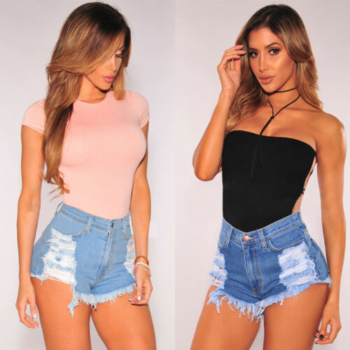 Womens Destroyed Ripped High Waisted Denim Shorts Mini Hot Pants US Size 4-10